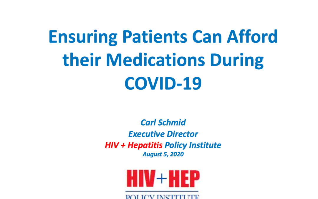 Ensuring patients can afford their medications during COVID-19
