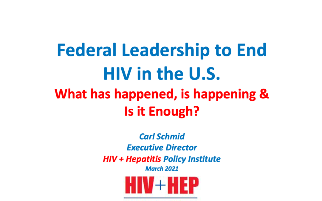 Federal Leadership to End HIV in the U.S.