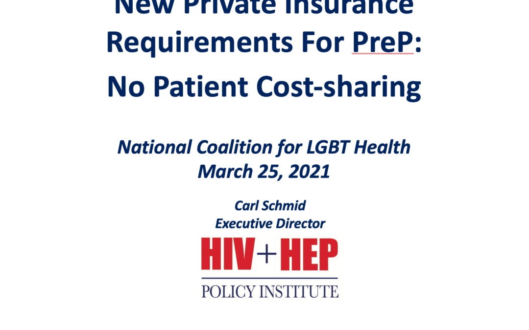 New Private Insurance Requirements for PrEP: No Patient Cost-Sharing